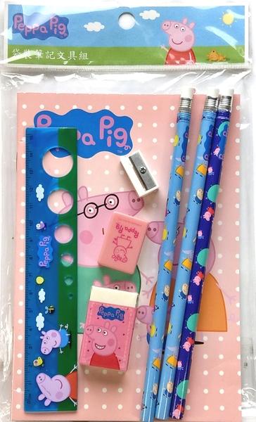 【卡漫城】 佩佩豬 7件 文具組 ㊣版 Peppa Pig 粉紅豬小妹 筆記本 橡皮擦 鉛筆 削筆器 量尺 文具