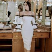 秋裝性感露肩一字領修身顯瘦蕾絲拼接中長款包臀連衣裙女 巴黎時尚