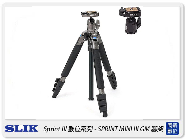 SLIK SPRINT MINI III GM 三腳架 SBH-100DQ 雲台 鐵灰(MINI3,公司貨)