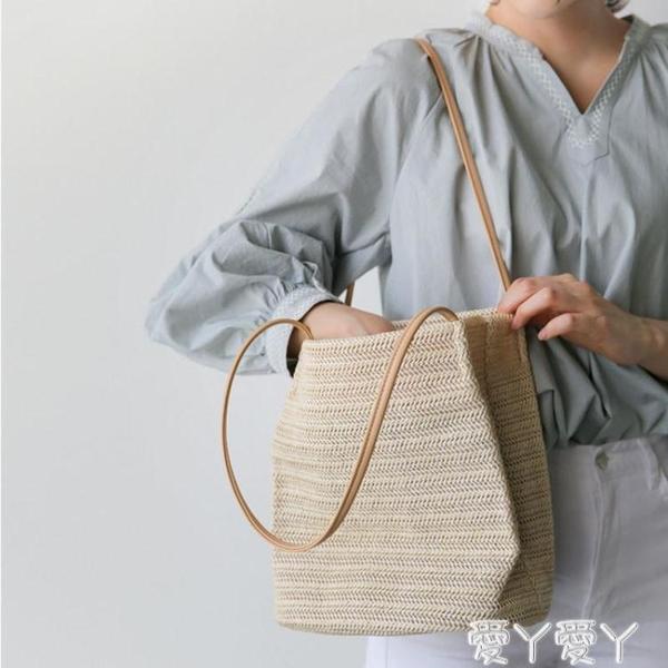 編織包草編包包女包夏天小清晰新款百搭編織包側背包沙灘包手提包 愛丫愛丫