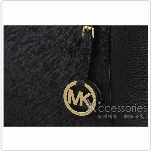 MK MICHAEL KORS 金字防刮皮革肩背包(大/黑)