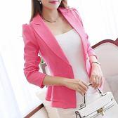 小西裝 春夏新款長袖小西裝女外套韓版修身荷葉邊短款女裝