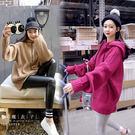 【QV2044】魔衣子-純色寬鬆粗毛線連帽上衣
