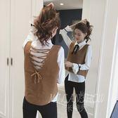 韓版無袖針織衫百搭上衣 短款馬甲背心毛衣