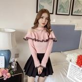 秋裝新款韓版寬鬆蕾絲長袖雪紡荷葉邊襯衫女網紗接拼露肩上衣 居享優品