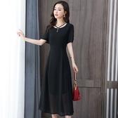 依Baby 洋裝 雪紡黑色連身裙夏季顯瘦裝新款遮肚洋氣藏肉減齡收腰長裙