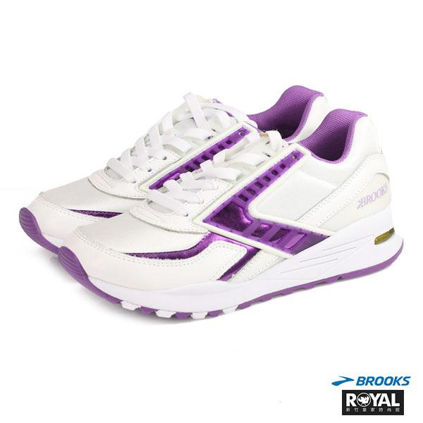 BROOKS 新竹皇家  REGENT 白紫 皮革 網布 慢跑鞋 女款 NO.I6882