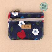 零錢包 包包 防水包 M426-048  韓製雙拉大零-灰蘋果與小白花11114 Made in Korea funbaobao