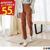 《BA4388-》高含棉立體車縫線直筒褲 OB嚴選