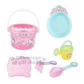 〔小禮堂〕Hello Kitty 塑膠挖沙玩具組《粉.點點》鏟子.澆水器.沙灘玩具 4902923-14481