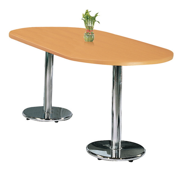 【IS空間美學】木紋檯面橢圓桌(電金圓盤腳/三款尺寸可選)