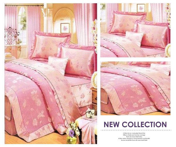 【貝淇小舖】☆精品系列【粉彩玫瑰】緹花精梳棉標準雙人床罩五件組~粉橘