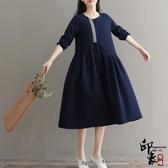 大尺碼洋裝實拍復古寬鬆提花棉麻民族風長袍連身裙‧復古‧衣閣