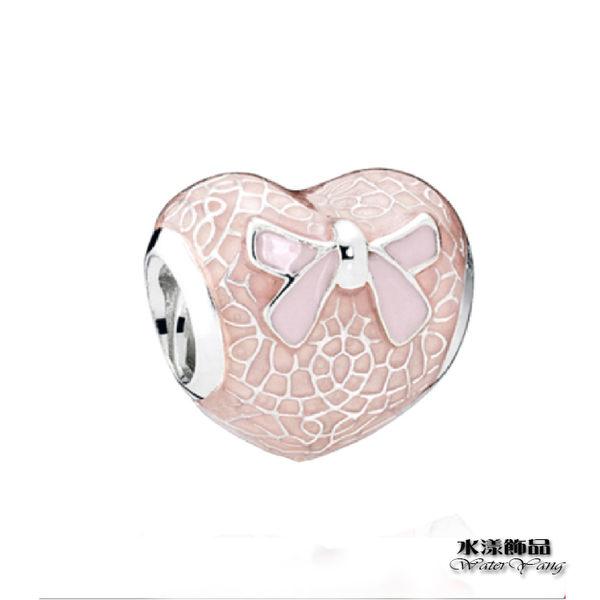 香檳粉 蝴蝶结心形串珠