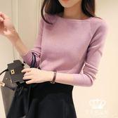 針織衫 春秋一字領女短款修身套頭純色長袖毛衣