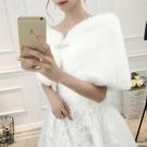 披肩外套 新娘雙面毛披肩結婚禮服旗袍秋冬款禮儀紅白色婚紗外套加厚保暖 俏girl
