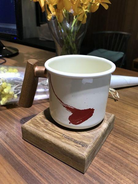 丹大戶外【Truvii】木柄琺瑯杯 400ml-限量水墨搖滾杯