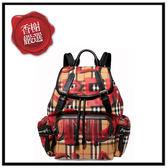 BURBERRYTHERUCKSACK塗鴉VINTAGE格紋中型背包/紅40758361全新商品