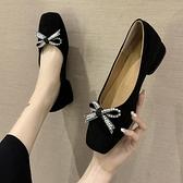 娃娃鞋 2021春季新款韓版百搭方頭淺口蝴蝶結仙女奶奶鞋粗跟溫柔中跟單鞋