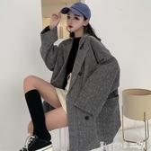 2019流行新款秋季韓版復古大碼寬鬆大衣中長款長袖西裝毛呢外套女 第一印象