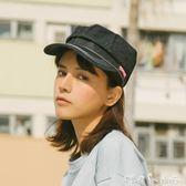 復古日本牛仔布報童帽子男女休閒平頂軍帽畫家八角帽 「潔思米」