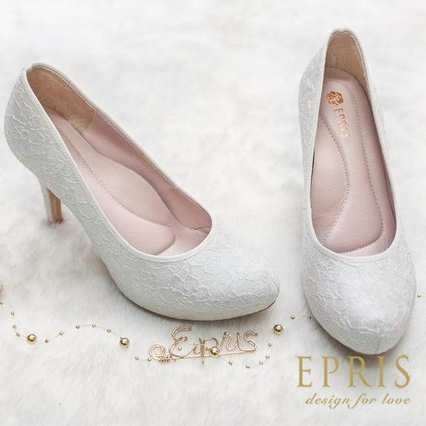 預購 MIT小中大尺碼婚鞋內增高推薦 和風女神 日系蕾絲高跟鞋 21-26 EPRIS艾佩絲-閃耀白