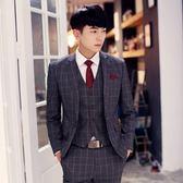 西裝套裝含西裝外套+西裝褲(三件套)-經典穩重格子造型新郎男西服4色73hc16【時尚巴黎】