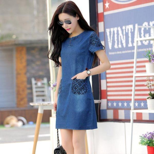 牛仔洋裝 牛仔洋裝女中長款2019新款裙子夏季女裝韓版短袖顯瘦大碼洋裝