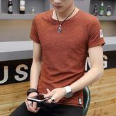 短袖男圓領t恤男士韓版休閒短袖體恤潮流男衣服半袖『韓女王』