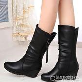 秋冬女靴坡跟加絨中筒靴女雪地靴粗跟大碼中跟馬丁靴女鞋媽媽鞋 概念3C旗艦店