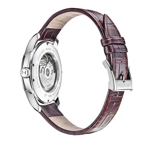 Hamilton 漢米爾頓 Jazzmaster 鏤空機械腕錶/手錶-銀x咖啡/40mm H32565555