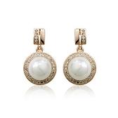 耳環 玫瑰金 925純銀鑲鑽-經典珍珠生日情人節禮物女飾品2色73gs146【時尚巴黎】
