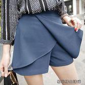 夏季高腰A字闊腿短褲裙褲女半身裙