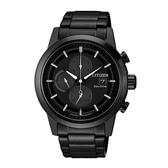 日本CITIZEN星辰Eco-Drive 質感紳士三眼計時腕錶  CA0615-59F  黑