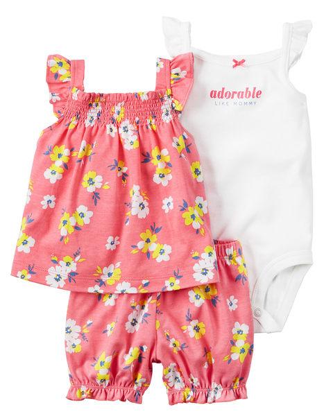 3件組肩帶連身裙+包屁褲套裝組: 粉橘小花: 121H114