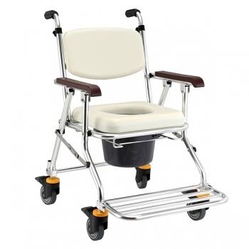 均佳 鋁合金可收合有輪洗澡椅/便器椅JCS-208