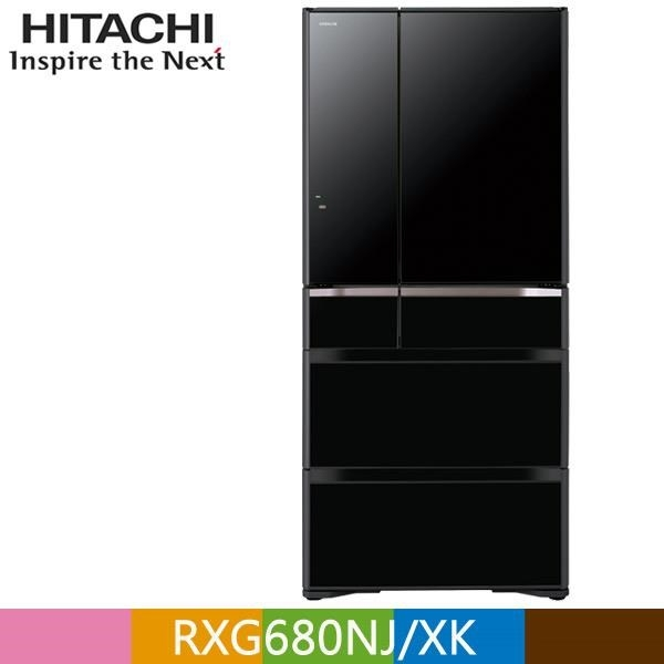 【南紡購物中心】HITACHI 日立 676公升日本原裝變頻六門冰箱RXG680NJ 琉璃黑(XK)