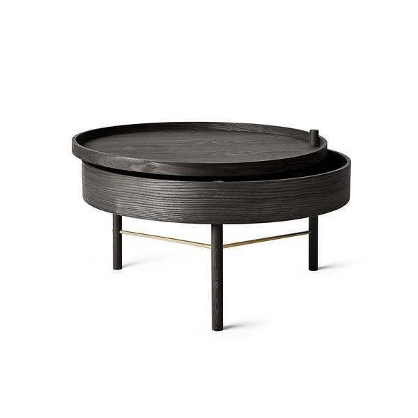 丹麥 Menu Turning Table 65cm 迴旋系列 收納式 木質咖啡桌(黑色梣木 黃銅支架)