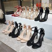 高跟鞋 2019夏季新款一字扣帶涼鞋女細跟露趾網紅高跟鞋百搭仙女風ins潮 瑪麗蘇