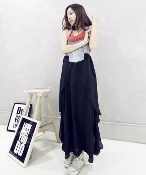 中大尺碼 牛仔裙 拼接洋裝連身裙長裙 背帶裙歐美MB040-A.5019 皇潮天下牛仔部份偏深藍