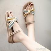 涼鞋 新款涼鞋女羅馬時尚兩穿平底夏潮沙灘鞋仙女超火拖鞋 暖心生活館