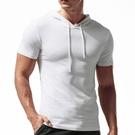 春夏季短袖t恤男士連帽薄款修身純棉韓版潮流帶帽衛衣半袖上 快速出貨