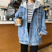 牛仔外套 原宿風寬鬆牛仔外套女短款2019新款韓版百搭港風連帽學生夾克上衣
