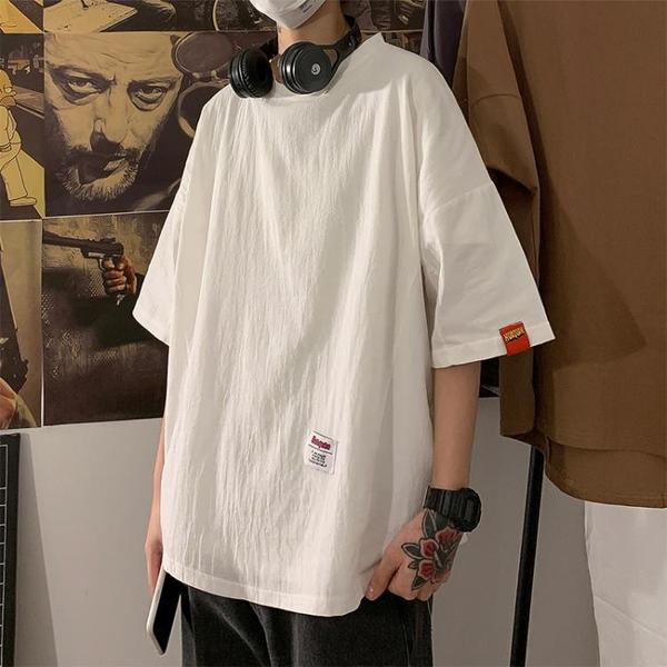 短袖t恤男寬鬆夏季港風百搭韓版潮流純色半袖棉麻大碼五分打底衫 黛尼時尚精品