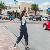 新年好禮85折 ins超火的牛仔九分背帶褲女2018新款bf寬鬆sukol少女ulzzang褲子