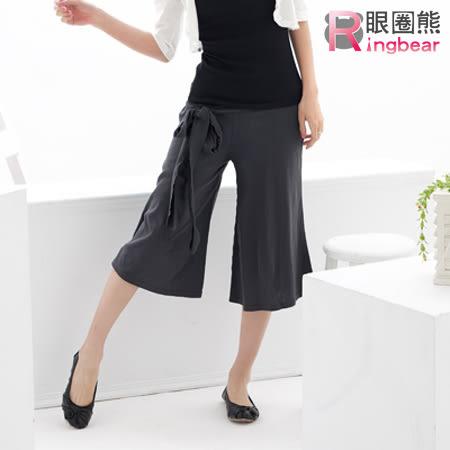 褲裙--粗大腿消失素面綁帶寬版褲裙(黑.灰M-XL)-R25眼圈熊中大尺碼