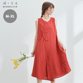 毛邊貼布棉麻背心裙(橘)-M-XL【慢。生活】