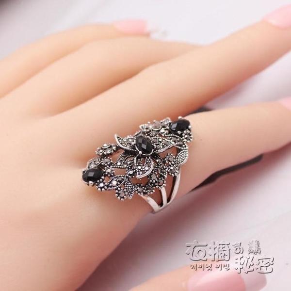 歐美花朵大氣復古銀鑲鑚個性食指戒指女中指潮人夸張指環日韓飾品 雙十二全館免運
