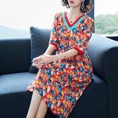 連身裙 民族風女裝大碼中袖顯瘦氣質洋裝   琉璃美衣