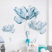 壁貼 小清新藍花墻貼創意臥室房間溫馨背景墻壁裝飾貼紙墻紙自粘貼畫【韓國時尚週】